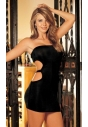 SH-90056 czarna mini sukienka bez ramiączek