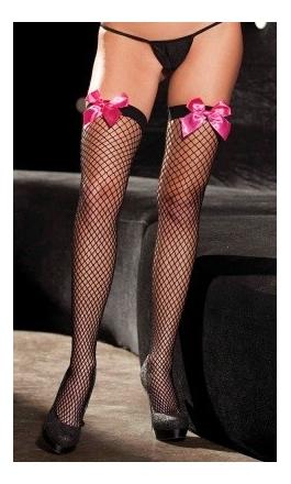 SH-90284 pończochy kabaretki z różowymi kokardkami