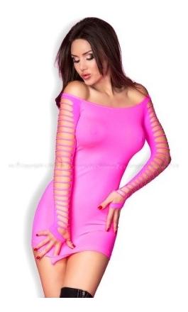 CR-3608 mini sukienka w kolorze różowym bezszwowa