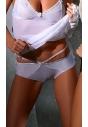 Nelly białe szorty ze sznureczkami z tyłu