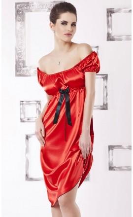 Anabel czerwona koszula satynowa duży rozmiar do 56/8XL