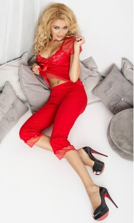 Sabi czerwona dwuczęściowa sexy piżamka