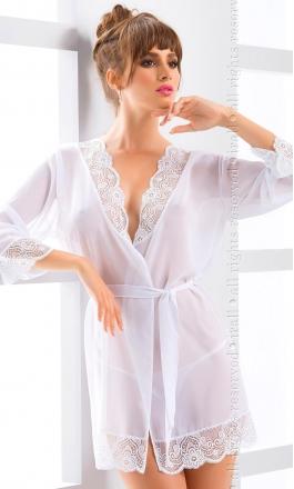 Cassidy biały cienki szlafrok na noc poślubną