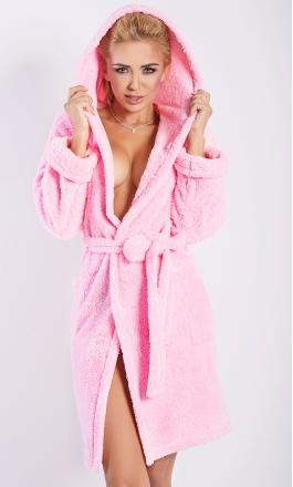 Diana ciepły szlafrok z kapturem w kolorze różu