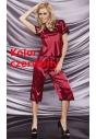Irina czerwona satynowa piżamka ze spodniami 6XL