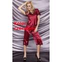 Irina czerwona satynowa piżamka ze spodniami