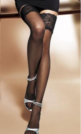 Michelle 03 pończochy samonośne z szeroką koronką