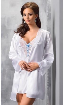 Elsa zmysłowy szlafrok w białym kolorze z satyny