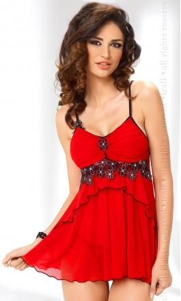 Mirabelle czerwona koszulka nocna z tiulu