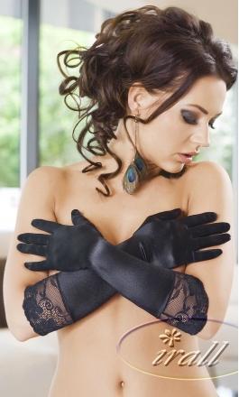 Nora satynowe rękawiczki w kolorze czarnym