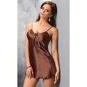 Koszulka nocna satynowa Aria w kolorze czekoladowym