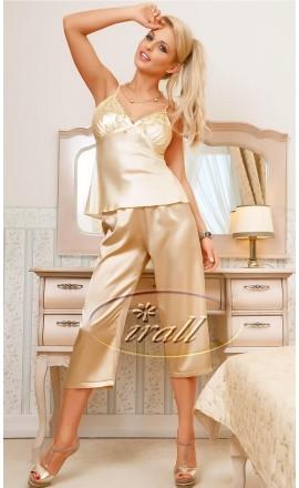 Parisa beżowa satynowa piżama damska