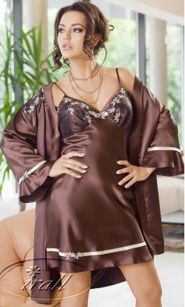 Martina ekskluzywny brązowy szlafrok damski