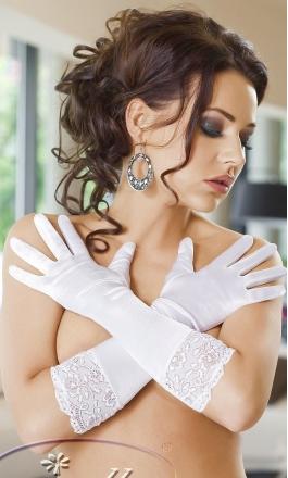 Rękawiczki satynowe Irall Nora białe