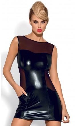 Wetty seksowna czarna sukienka lateksowa