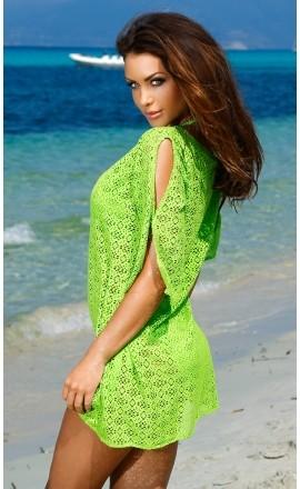 203S siateczkowa tunika na lato w koloże zielonym