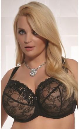 Belinda czarny elegancki biustonosz na duży biust