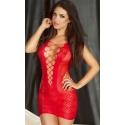 CR-3497 siateczkowa czerwona mini sukienka