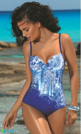 F26 niebieski jednoczęściowy strój kąpielowy