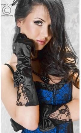 CR-3252 Black satynowe rękawiczki z kokardą