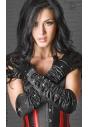 CR-3221 czarne satynowe rękawiczki z biżuterią