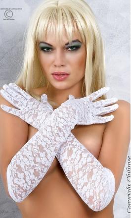 CR-3071 Gloria białe rękawiczki koronkowe