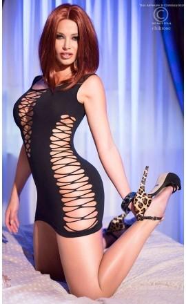 CR-4096 czarna elastyczna mini sukienka