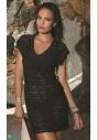 F60 czarna siateczkowa sukienka plażowa