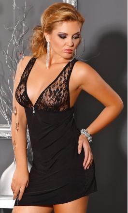 M/1004 Liliana czarna koszulka nocna dla puszystej