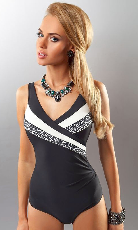 8c2f363e1eaa41 Milano czarny strój kąpielowy jednoczęściowy XXL - Diores