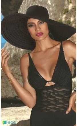 F65 czarny kapelusz plażowy
