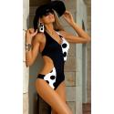 070/2 jednoczęściowy kostium kąpielowy monokini w groszki