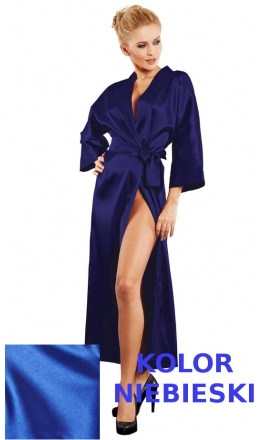 130 długi niebieski szlafrok damski z satyny