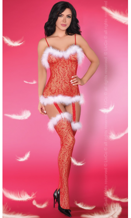 Catriona Christmas świąteczne bodystocking w kolorze czerwonym