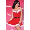 Strój mikołajki świąteczna sukienka z paskiem Meredith