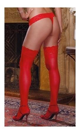 DM-0005X gładkie pończochy XXL w czerwonym kolorze