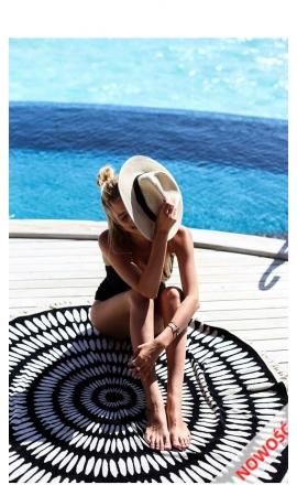 Ręcznik plażowy REC9 okrągły czarny z białym wzorem