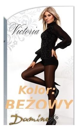 Victoria gładkie rajstopy XXL z lycry 40DEN beżowe