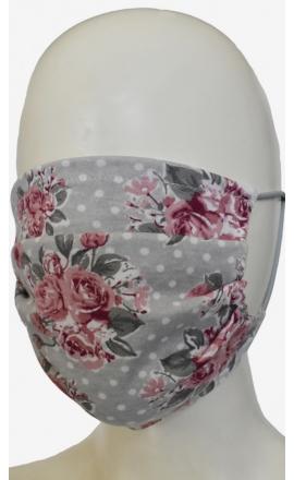 Maseczka ochronna bawełniana wielokrotnego użytku szara w kwiaty