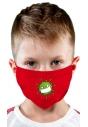 Maseczka ochronna dziecięca czerwona z motywem wirusa