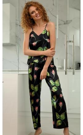 Piżama satynowa DKaren flowers DK-KI 04