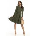Sukienka rozkloszowana z paskiem w kolorze zielonym T287
