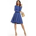 Sukienka rozkloszowana z paskiem w kolorze chabrowym T287