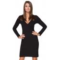 Sukienka z kopertowym dekoltem czarna T215