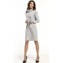 Sukienka dzianinowa z półgolfem kolor jasno szary T290