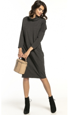 Sukienka dzianinowa Tessita T290 ciemno szara