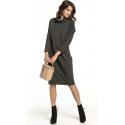 Sukienka dzianinowa z półgolfem kolor ciemno szary T290