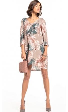 Sukienka wiskozowa z kontrafałdą Tessita T325 beż