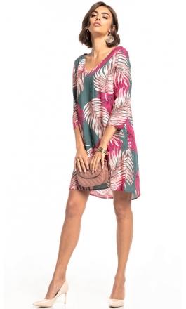Sukienka wiskozowa z kontrafałdą Tessita T325 zielona