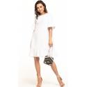 Sukienka midi z krótkim rękawem w kolorze białym T315